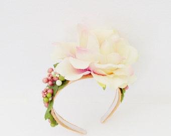 Yellow Rose Headband / Spring Summer Yellow Orange Fashion Accessory / Yellow-Peach Rose Flower, Berries & Leaves / OOAK Gift Under 75
