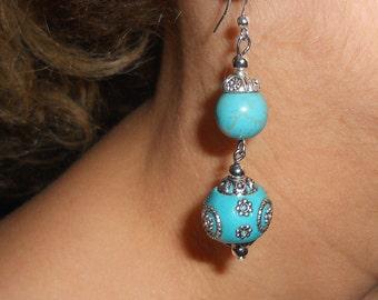 Blue earrings, turquoise earrings, gypsy earrings, boho earrings, dangle earrings, ethnic jewelry, boho turquoise jewelry, boho chic jewelry