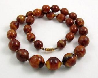 Vintage Bakelite Bead Necklace, Marbled Brown Yellow