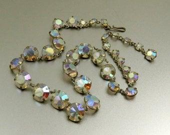 Vintage Aurora Borealis AB Crystal Necklace Open Back Necklace Bezel Set Iridescent Crystal Open Back Crystal Adjustable Choker