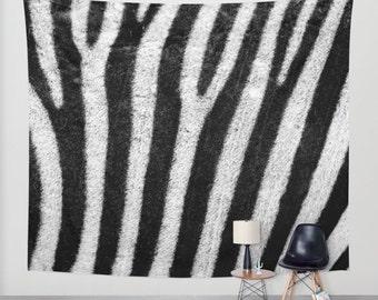 ZEBRA Animal Print Wall Tapestry, Animal Print Home Decor, Nature Tapestry, Wall Tapestry, Home Decor, Stripes Tapestry, Black White Decor