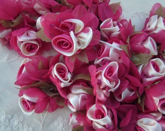 18pc Chic FUCHSIA  Satin Organza Ribbon Wired Rose Peony Flower Reborn Doll Bridal Wedding Bow Hair Accessory Applique