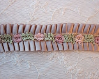 1.5 inch Camel Tan Satin Pleated Ribbon Ruffle Trim Hand Dyed Rose Rosette Lace ORIGINAL DESIGN