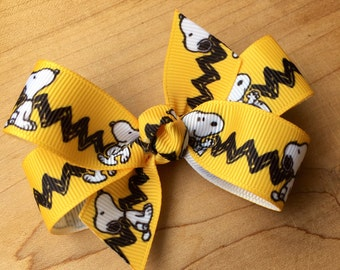 Snoopy Peanuts Hair Bows - yellow- Snoopy Bows, Snoopy Party, Snoopy, Snoopy Birthday, Snoopy Party Favor, Snoopy Loot bags, Peanuts party,