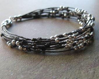 Multi Strand Sterling Silver Beaded Waxed Linen Bracelet