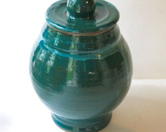 Turquoise Stoneware Jar   OOAK Hold Two Quarts Pet Funerary Vessel or Multipurpose