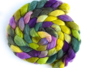 BFL Wool Roving - Hand Painted Spinning or Felting Fiber, Whimsical Nature