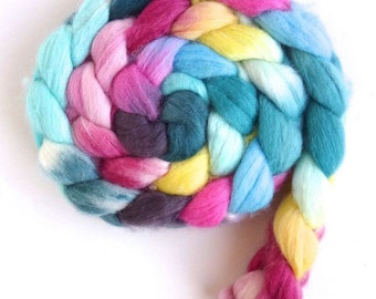 Polwarth/Silk Roving - Handpainted Spinning or Felting Fiber, Meet Me at Spring Street