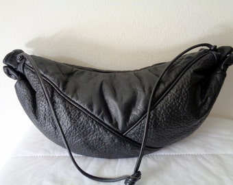 GINO USA butter soft thick lamb and black  buffalo leather large size hobo, cross body bag , top zip  handbag , vintage 80s purse unique