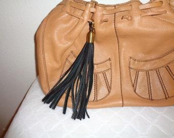 Rich long tassel key charm rich buttery deerskin leather in black brass clip on for Coach bag purse accessory car keys handmade free ship