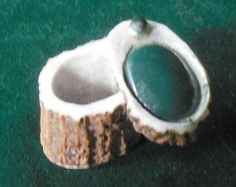 Bloodstone Carved Shed Elk Antler Box Medium Size Cruelty Free Semiprecious Stone Gemstone Inlay OlyTeam