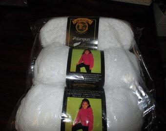 Lion Brand Yarn Lot of 3 Yarn Polar Spun Snow White