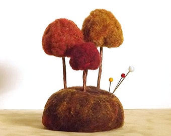 Ready To Ship Sewing Gift Autumn Trees - Miniature Forest Sculpture Pincushion - Home Decor Fall Nature Scene