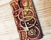 55. Wondrousstrange Raku Design Celtic Texture Earthenware Rectangular Copper Red Chartruese Pendant