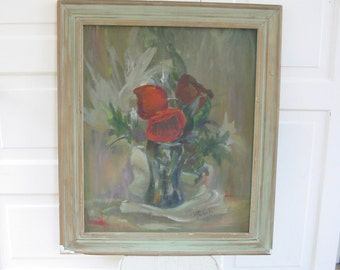 Vintage Floral Painting, Oil on Canvas Painting, Floral Oil Painting, Red Flowers Painting, Cottage Chic Art, Floral Canvas Painting