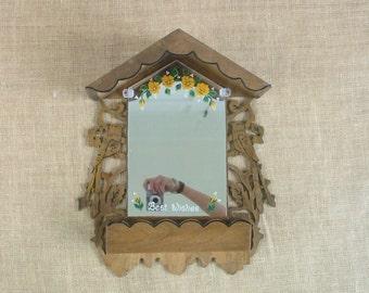 Vintage Wood Shelf, Vintage Mirror, Vintage Display, Bird Shelf Mirror, Woodland Creature, Wood Bird