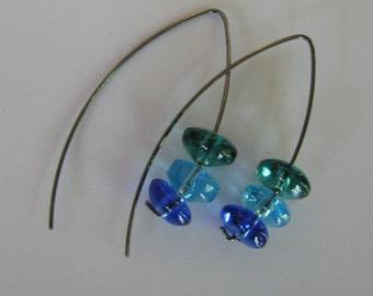 Blue Vee Earrings, Shades of Blue Vee Shaped Earrings