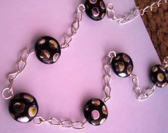 Black and Silver Peacock Necklace, Black Necklace, Black and Rainbow Polkadot Necklace