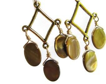 Sable Brown Chandelier Earrings, Brown Shell Chandelier Earrings, Mother of Pearl Earrings