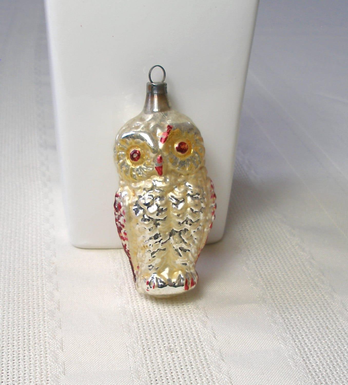 Vintage Owl Ornament RARE Antique Mercury Glass Christmas