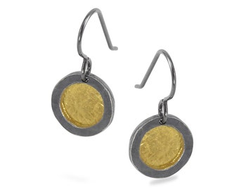 Circle Earrings with Fused Gold