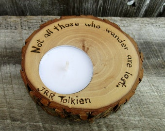 Candle of Rustic Willow Wood with Tolkien Quote
