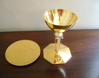 Vintage French Sterling Silver and Ivory Chalice with paten and case