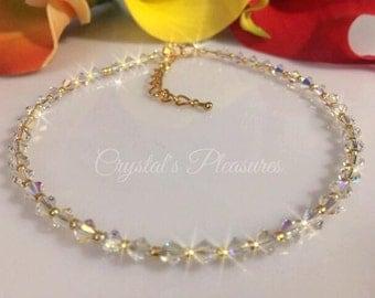 GOLD Aurora Borealis AB Swarovski Crystal Element Ankle Anklet Bracelet