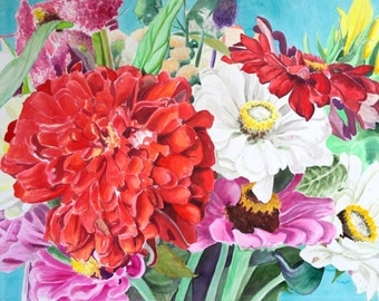 """LARGE painting Original watercolor flower bouquet, red zinnia wall art by Paige Smith-Wyatt ready to hang 36"""" x 48"""""""