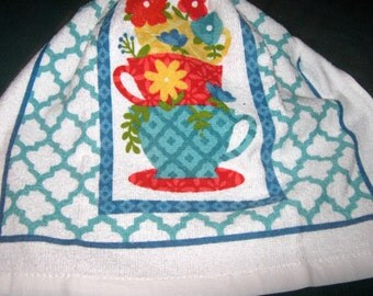 Crochet hanging Towel, coffee cups with flowers, Turquoise top