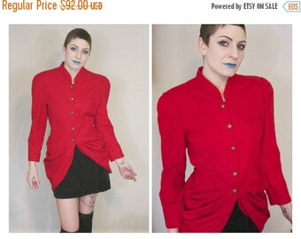 FLASH SALE 80s Avant Garde Red Jacket / Ringmaster Circus Architectural Tails Coat / Size M Medium