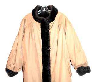 Russian princess vintage 80s beige polyester, reversible, mini coat with  a contrast dark brown faux fur trim. Size  M.