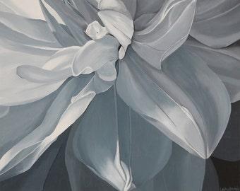 White Dahlia Print 8x10 Monochromatic Gray Black & White Botanical Flower Floral Wall Art