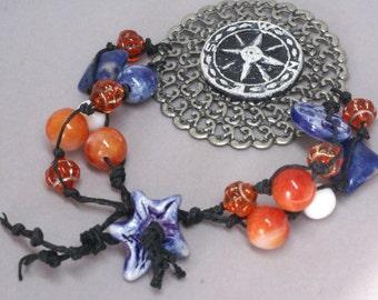 Orange and Blue Compass Bracelet, Compass Jewelry, Handmade Wearable Art, Graduation Gift,  Blue and Orange Colors, Multi Strand Bracelet