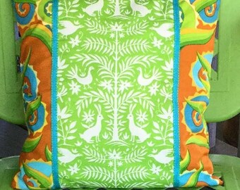 """Mexican Otomi Style Pillow Cover 14"""" Square Lime Green Agave Plant Green Brown Turquoise"""