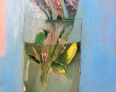 Glass Terrarium, Original oil painting on arches paper