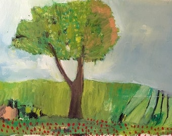 Apple Tree in late summer, original oil painting on arches