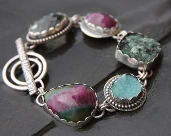 RESERVED for Cheryl oOo ruby in fuchsite, hemimorphite, zoisite druzy, ruby, green amethyst, and sterling silver metalwork link bracelet