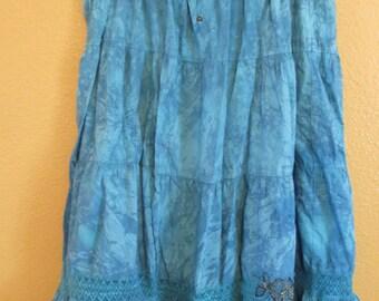 Tie dye  burnout dancing skirt blue hippie dancing skirt