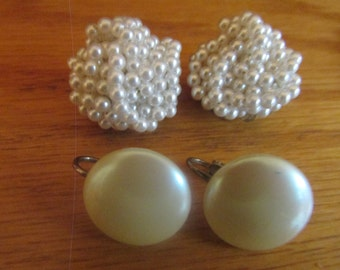cluster bead and white earrings clip