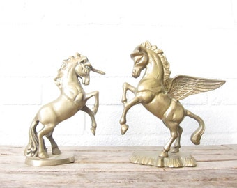 Vintage Brass Unicorn and Pegasus Figurines - Brass Fantasy Figures - Mythical Creatures Statues - Figurine - Gold Horse Paperweights