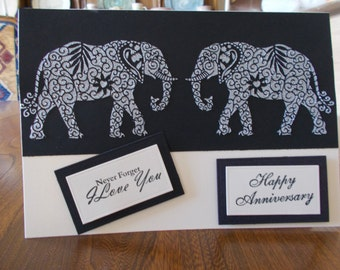 Lovely Anniversary card with 2 Elephant looking at one another husband card wife card