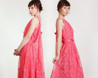 ON SALE Fuschia Chantilly Lace Dress . 1960s