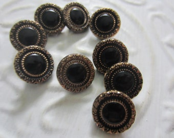 Vintage Buttons -  beautiful lot of 9 matching gold luster jet black glass, pressed design,  (aug 4b b)