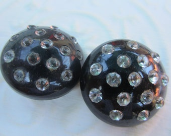 Vintage Buttons -  2 beautiful matching, Rays design rhinestones  large, celluloid (oct 210)