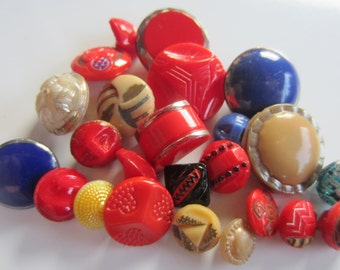 Vintage Buttons - lot of 24 assorted glass, tiny to medium, some hand painted (lot jan 245b)