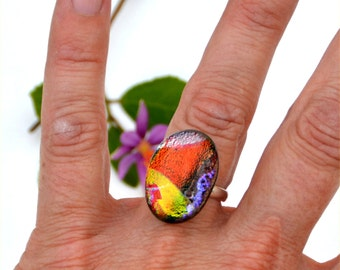 020 Fused dichroic glass ring, adjustable red, yellow, silver, blue