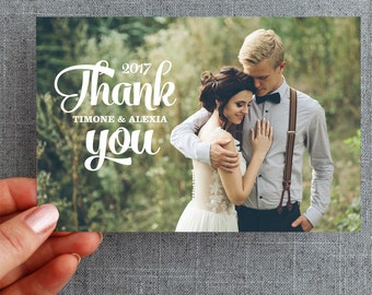 50+ Wedding Thank you card, postcard, with photo, brush lettering, Alexia Style