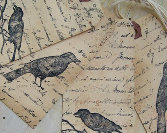 Altered Grunge Crow Gift Tags Vintage Style Crow Gift Tags Handmade Gift Tags Scented Distressed Bird Tags Bird Bookmark Vintage Crow Raven