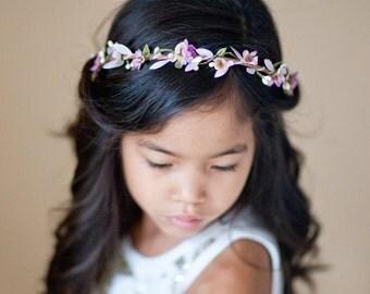 purple flower girl headband, flower girl crown, lavender hair accessories, lilac headband, girls headbands, lavender headband, circlet
